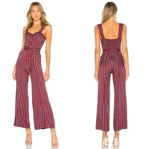 NEW FREE PEOPLE CITY GIRL STRIPED WINE JUMPSUIT 10